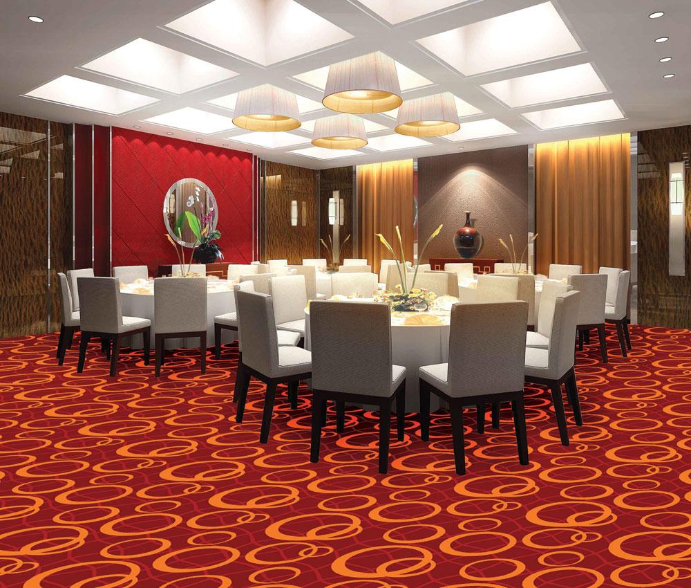 Thảm lót sàn mềm mại, êm ái tạo nên sự đẳng cấp cho nhà hàng, khách sạn